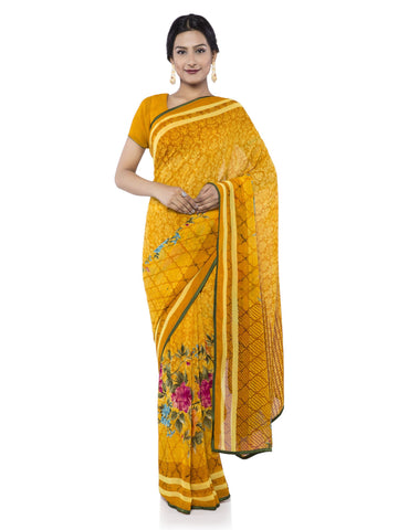 Yellow Color Georgette Saree - vipul-38217