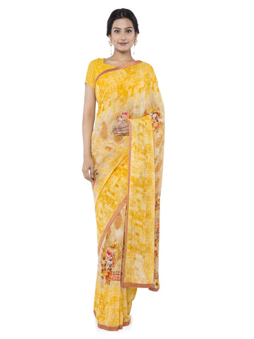 Yellow Color Georgette Saree - vipul-38222