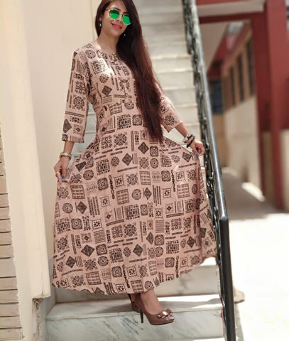 Brown Color Rayon  Stitched Gown - vo263
