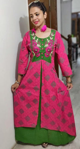 Pink Color Cotton Stitched Kurta - vo264