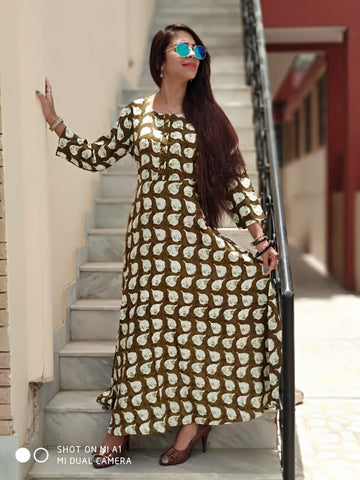 Coffee Color Rayon Stitched Gown - vo265