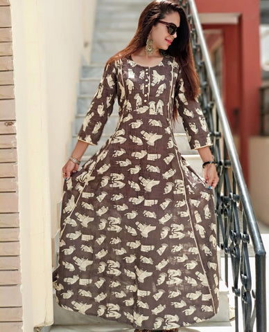 Brown Color Rayon  Stitched Gown - vo269