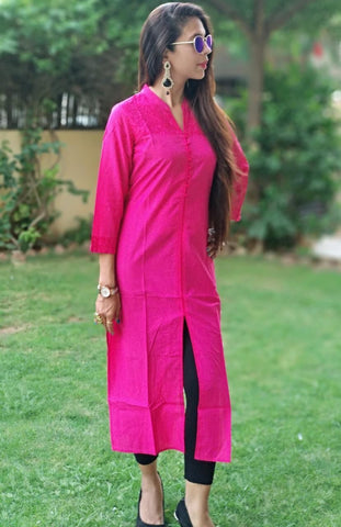 Pink Color Cotton Stitched Kurti - vo272