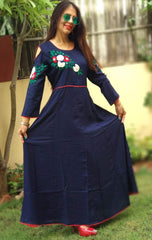 Buy Navy Blue Color Embroidered Stitched Gown