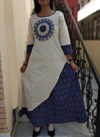 Blue Color Cotton Stitched Kurta - vo344