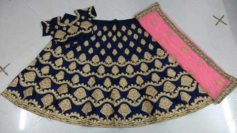 Navy Blue Color 9000 Silk UnStitched Lehenga  - vol-3-3004