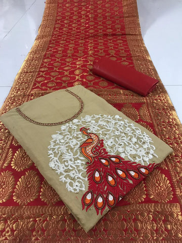 Beige Color Chanderi Cotton Unstitched Salwar - vol001-1Chiku