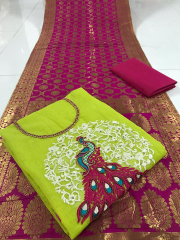 Green Color Chanderi Cotton Unstitched Salwar - vol001-2green