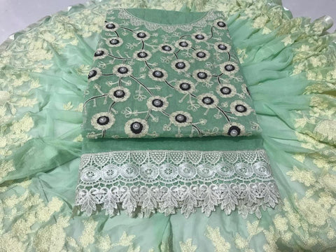 Green Color Chanderi Cotton Unstitched Salwar - vol002-1green