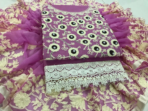 Pink Color Chanderi Cotton Unstitched Salwar - vol002-3pink