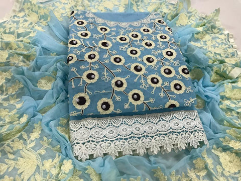 Sky Blue Color Chanderi Cotton Unstitched Salwar - vol002-4Sky Blue