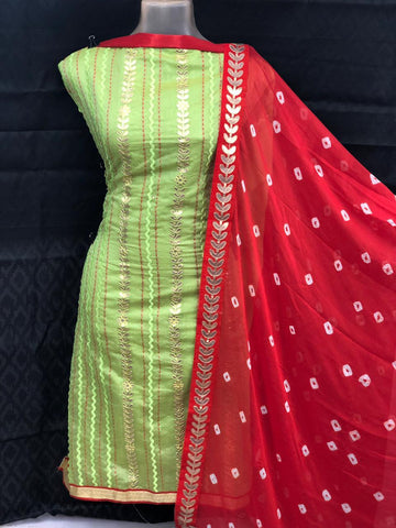 Green Color Chanderi Cotton Unstitched Salwar - vol003-1green