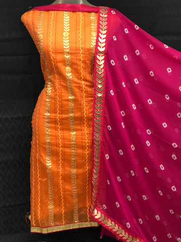 Orange Color Chanderi Cotton Unstitched Salwar - vol003-3orange