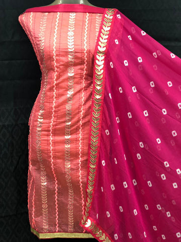 Pink Color Chanderi Cotton Unstitched Salwar - vol003-4Gajari