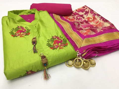 Green Color Cotton Unstitched Salwar - vol006-green