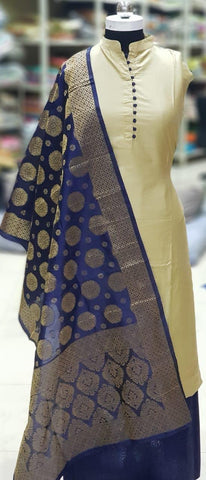 Beige Color Silk Unstitched Salwar - vol009-1Blue