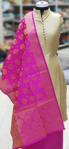 Beige Color Silk Unstitched Salwar - vol009-2Pink