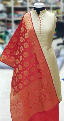 Beige Color Silk Unstitched Salwar - vol009-red