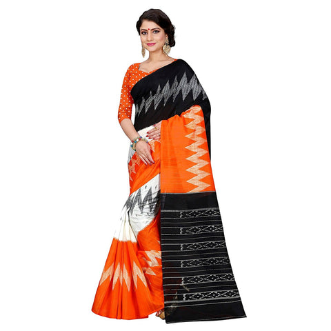 Orange Color Bhagalpuri Silk Saree  - volvo-orange