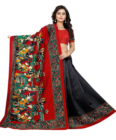 Black Color Art Silk Saree  - warli-prints-black