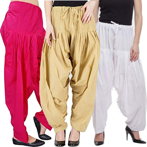 COMBOS  - White And Baige And Peach Color Cotton Stitched Women Patiala Pants - white_baige_peach