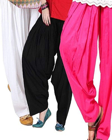 COMBOS  - White And Black And Rani Color Cotton Stitched Women Patiala Pants - white_black_rani