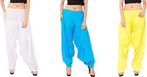 COMBOS - Multi Color Cotton Stitched Women Patiala Pants - whitefiroziyallow