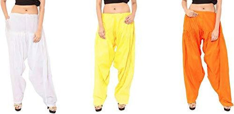 COMBOS - Multi Color Cotton Stitched Women Patiala Pants - whiteorangeyellow