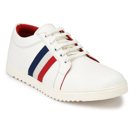 White Color Synthetic Mens Sports Running shoe - whitetiranga-1
