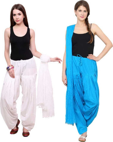 COMBOS - Whitetourqis Color Cotton Stitched Women Patiala Pants With Dupata - Whitetourqis