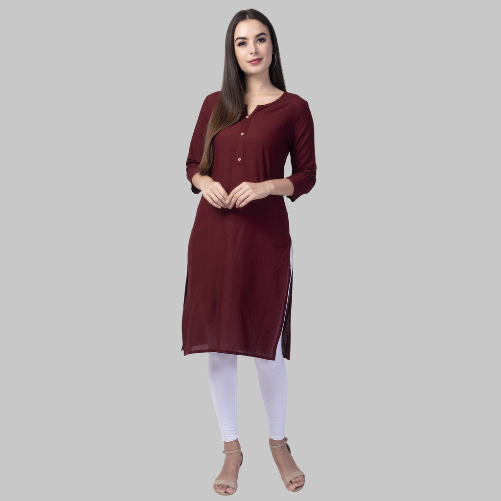 Buy Wine Color Cotton Women's Stitched Kurti