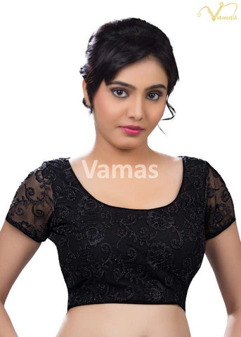 Black Color Fancy Net Stitched Blouse - x-146-black