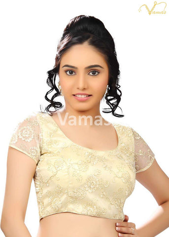 Cream Color Fancy Net Stitched Blouse - x-146-cream