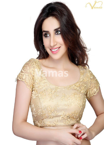 Gold Color Fancy Net Stitched Blouse - x-146-gold