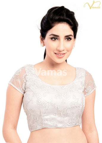 Silver Color Fancy Net Stitched Blouse - x-146-silver