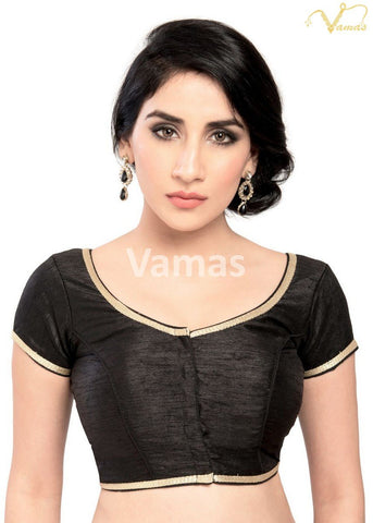 Black Color Dupion Silk Stitched Blouse - x-193sl-black