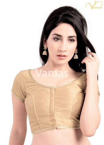Gold Color Dupion Silk Stitched Blouse - x-193sl-gold