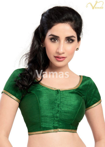 Green Color Dupion Silk Stitched Blouse - x-193sl-green