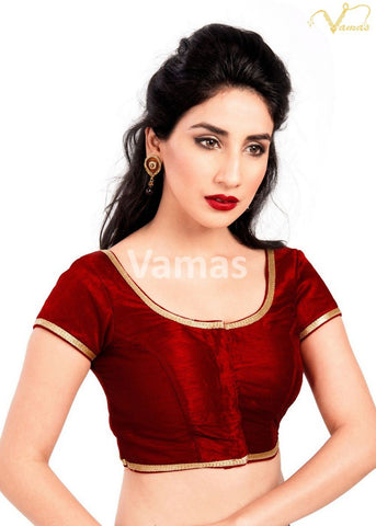 Maroon Color Dupion Silk Stitched Blouse - x-193sl-maroon