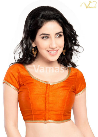 Orange Color Dupion Silk Stitched Blouse - x-193sl-orange
