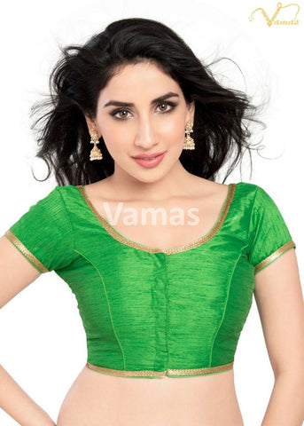 Parrot Green Color Dupion Silk Stitched Blouse - x-193sl-parrot-green