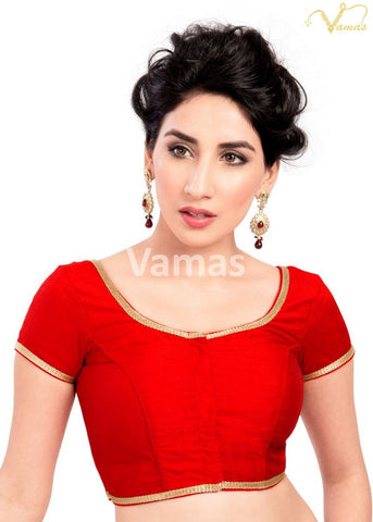 Red Color Dupion Silk Stitched Blouse - x-193sl-red