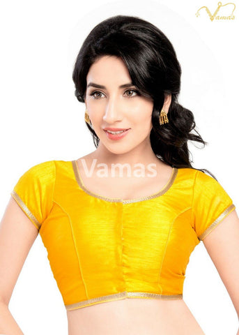 Yellow Color Dupion Silk Stitched Blouse - x-193sl-yellow