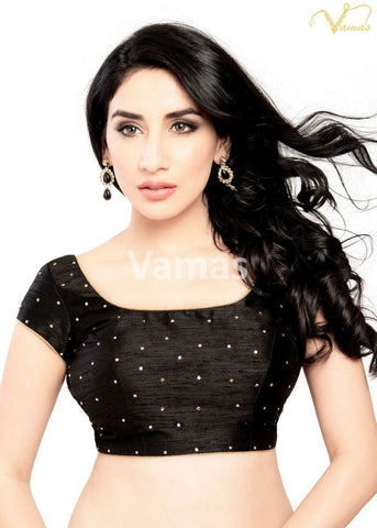 Black Color Dupion Silk Stitched Blouse - x-202sl-black