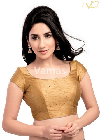 Gold Color Dupion Silk Stitched Blouse - x-202sl-gold