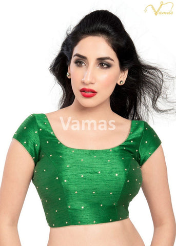 Green Color Dupion Silk Stitched Blouse - x-202sl-green