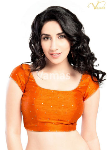Orange Color Dupion Silk Stitched Blouse - x-202sl-orange