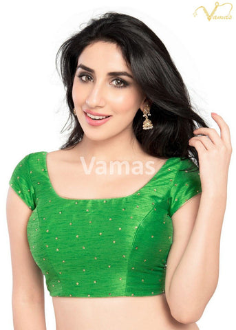 Parrot Green Color Dupion Silk Stitched Blouse - x-202sl-parrot-green