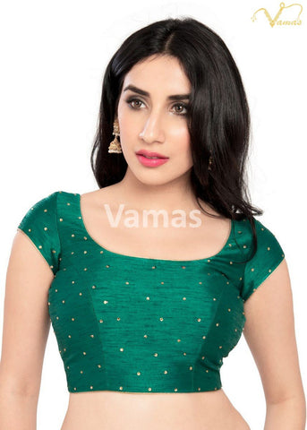Rama Green Color Dupion Silk Stitched Blouse - x-202sl-rama-green