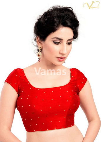 Red Color Dupion Silk Stitched Blouse - x-202sl-red